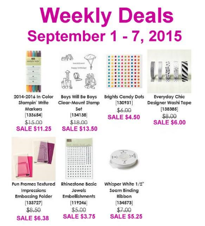 Weekly Deals Sept 1-7, Stampin' Up!, BJ Peters, Sale