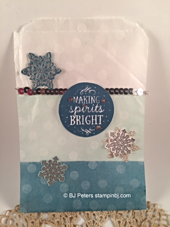 stampin' Up!, BJ Peters, Among the Branches, Sketched Dots Tag a Bag Gift Bag, Flurry of Wishes, Snow Flurry Punch