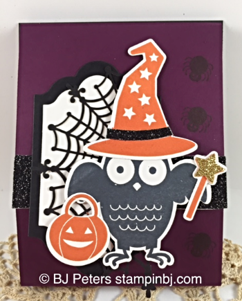 Howl-o-ween treat, Boo to You, Black Glimmer paper, Spider web doilies, Lots of Labels framelits