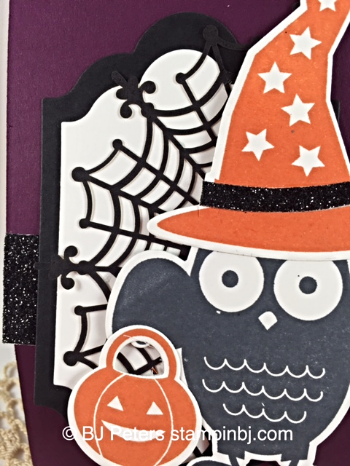Howl-o-ween treat, Boo to You framelits, Spider doilies, Lots of Labels framelits, Stampin' Up!, BJ Peters