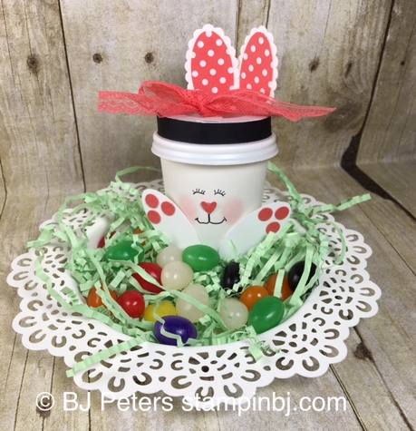 Bunny cup, Easter, punch art bunny, Stampin' up!, BJ Peters
