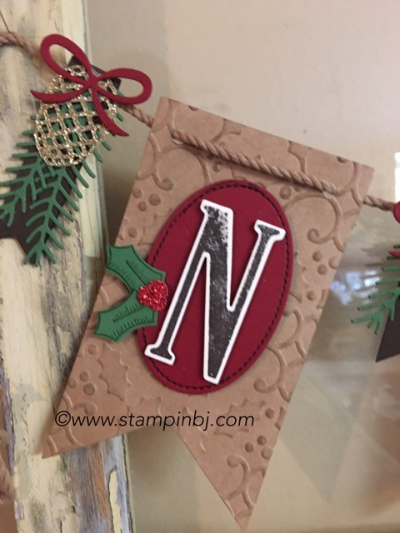 Christmas Pines, Large Letters, Stitched Shapes, Christmas, #stitchedshapes, #christmaspines, #christmasbanner, #banner, #largeletters, #stampinup, #stampinbj.com, #christmas, #christmasgift, #stampinbj.com, #bjpeters