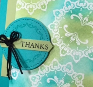 Make a Medallion, Stampin' Up!, Sale-A-Bration, #makeamedallion, #saleabration, #stampinup, #stampinbj.com, #bjpeters, #stampinupdemonstrator, #thankyoucard, #embossresist, #stitchedshapes