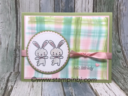 Basket Bunch, Baby card, #bloghop, #stampinup, #stampinbj.com, #bjpeters, #stampingtechniques, #stampinupvideo, #babycard, #watercolorpencils, #stampinupdemonstrator, #stampinupdemo,