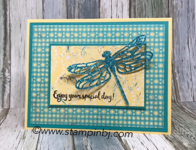 Dragonfly Dreams, Glimmer Paper, Sale-a-Bration, Stamping' Up!, #dragonflydreams, #stampinup, #stampinbj.com, #bjpeters, #detaileddragonflythinlits, #cupcakes&carouselspaper, #bloghop, #birthdaycard, #glimmerpaper, #sale-a-bration, #stampinupdemo, #rubberstamping