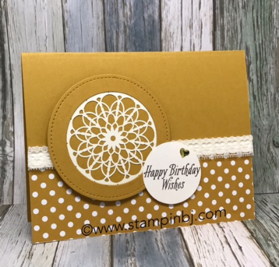 Avant garden, Lace Doily, #stampinup, #stampinbj.com, #bjpeters, #avantgarden, #lacedoily, #stitchedshapeframelits, #stampinupdemonstrator, #birthdaycard, #handstampedcard, #rubberstamping, #papercrafts, #stamping