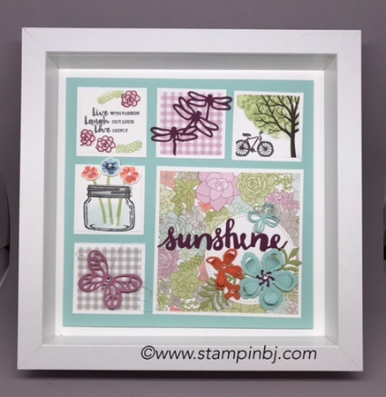 Succulent Garden, Oh So Succulent, Dragonfly Dreams, Jar of Love, Sunshine Wishes, Sheltering Tree, #succulentgarden, #ohsosucculent, #jaroflove, #dragonflydreams, #shelteringtree, #beautifulyou, #botanicalbuilderframelits, #stampinup, #stampinbj.com, #bjpeters, #3d, #springframe, #frame, #stampinupframe, #stampinupdemo