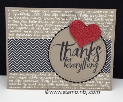 All things thanks, 2015-2017 In Colors, Stampin' Up!, #allthingsthanks, #2015-2017incolors, #thankyoucard, #stampinup, #stampinbj.com, #bjpeters, #stampinupdemo, #handstampedcard