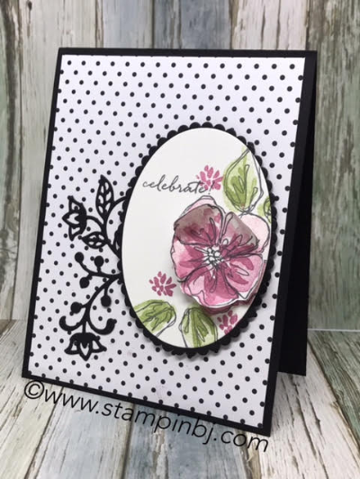 Penned & Painted, Flourish Thinlits, Layering Ovals, #penned&painted, #flourishthinlits, #layeringovals, #popofpinkdesignerseriespaper, #stampinup, #stampinbj.com, #bjpeters, #handstampedcard, #stampinupdemonstrator, #birthdaycard