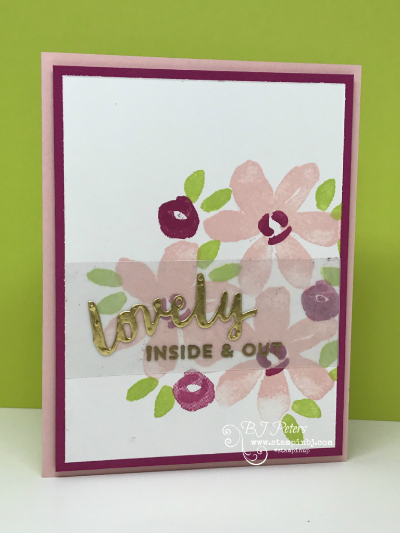 Lovely Inside & Out, Lovely Words Thinlits, Stampin' Up!, BJ Peters, #lovelyinside&out, #lovelywordsthinlits, #stampinup, #stampinbj.com, #bjpeters, #stampinupdemonstrator, #sneakpeek, #handstampedcard, #techniquevideo, #stampinupvideo