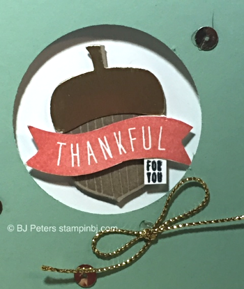 Acorny Thank You, Stampin' Up!, BJ Peters, Envelope Paper, Metalic Gold Trim, Sequins, Gold Foil