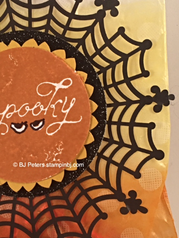 Among the branches, spider doily, Stampin' Up!, BJ Peteres, Sketched Dots Tag a Bag Gift bag