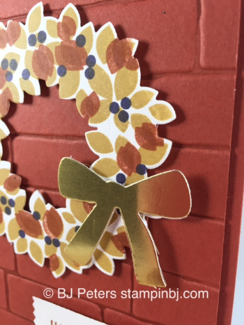 Wondrous Wreath, Brick Wall embossing folder, Stampin' Up!, BJ Peters