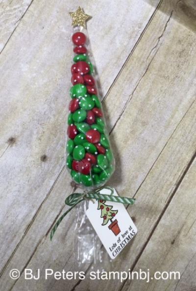 Santa's Gifts, BJ Peters, Stampin' Up!, Polka Dot Cone Cellophane Bags
