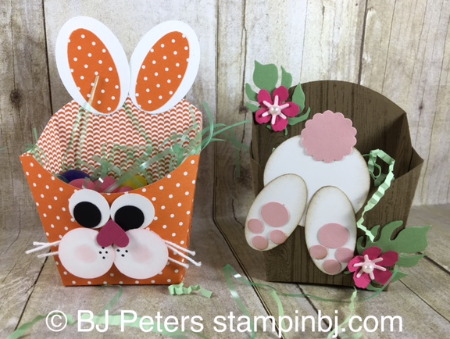 Fry Box, Easter, Bunny punch art, Stampin' Up!, BJ Peters