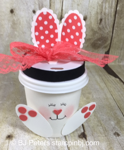 Bunny cup, punch art, Easter Bunny, Stampin' up!, BJ Peters
