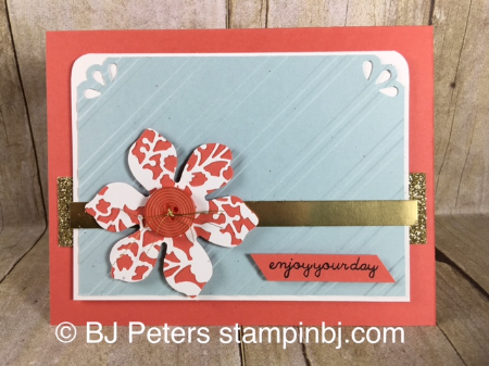 Bloomin' Heart, Stampin' Up!, BJ Peters, Stylish Stripes, Curvy Corner Trio Punch,