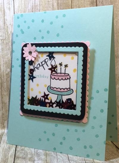 Endless Birthday Wishes, Layering Squares, Shaker card, Stampin' Up!, BJ Peters, #endlessbirthdaywishes, #shakercard, #stampinup, #bjpeters, #stampinbj.com, #stampinupclass, #imbringingbirthdaysback