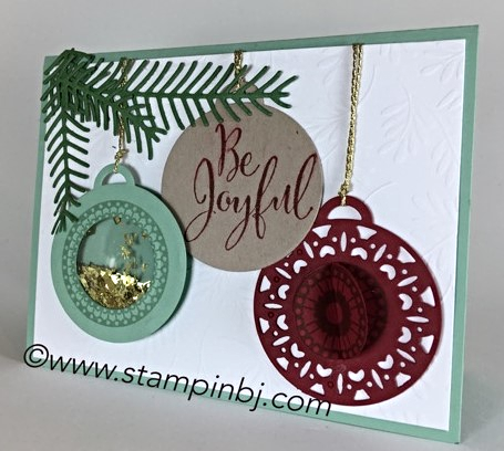 Merriest Wishes, Stampin' Up! Merry Tags, Shaker Card, #merriestwishes, #merrytags, #shakercards, #christmascard, #bjpeters, #stampinbj.com