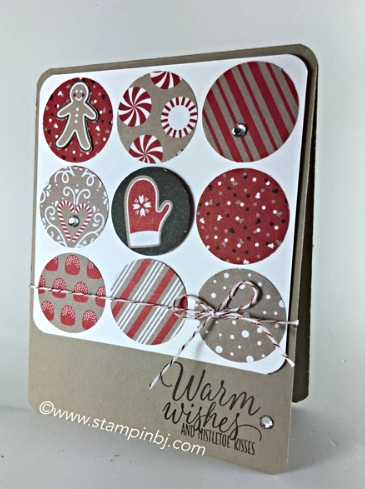 Tin of Tags, Candy Cane Lane, Tin of Tags, BJ Peters, #tinoftags, #candycanelanedesignerseriespaper, #stampinbj.com, #christmascard