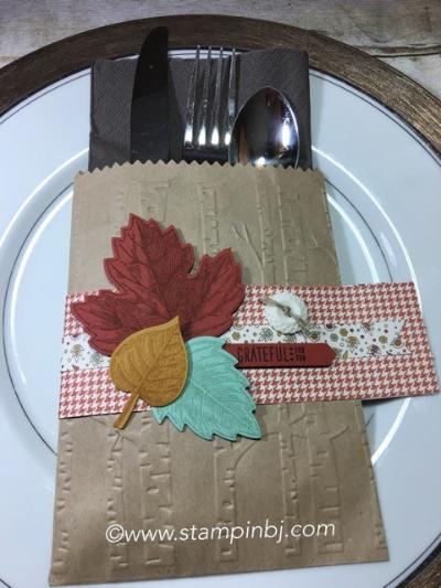 Vintage Leaves, Table Decor, Stampin' Up!, Petals & Paisleys, #petals&paisleys, #vintageleaves, #tabledecor, #tablesetting, #stampinup, #stampinbj.com, #bjpeters, #bloghop,