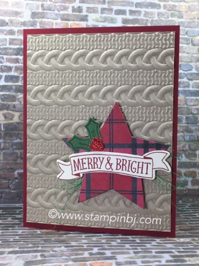 Stitched with Cheer, Cable Knit Sweater, #stitchedwithcheer, #cableknitsweater, #starsframelits, #bunchofbannersframelits, #hollyberrybuilderpunch, #stampinbj.com, #bjpeters, #stampinup