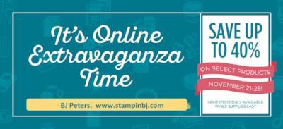 Online Extravaganza, Stampin' Up!, BJ PEters, #onlineextravaganza, #stampinupsale, #stampinupblackfriday, #stampinbj.com, #bjpeters