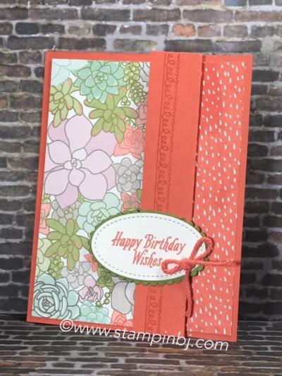 Avant Garden, Stitched Shapes Framelits, Succulent Garden, Delicate Details, Stampin' Up!, #stitchedshapesframelits, #succulentgarden, #avantgarden, #delicatedetails, #saleabration, #occasions, #stampinup, #stampinbj.com, #bjpeters, #specialfold, #papercrafts, #birthdaycard
