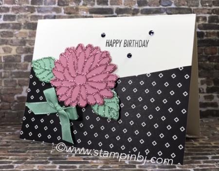 Big on Birthdays, Stylish Stems framelits, #bigonbirthdays, #stylishstemsframelits, #saleabration, #glimmerpaper, #popofpinkdesignerseriespaper, #stampinup, #stampinbj.com, #bjpeters, #stampinupdemonstrator, #stampinupdemo, #birthdaycard