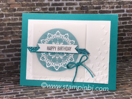 Make a Medallion, Glimmer Paper, Falling Petals, That's the Tag, #thatsthetag, #fallingpetals, #makeamedallion, #stampinup, #stampinbj.com, #bjpeters, #birthdaycard