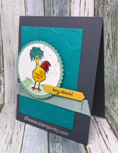 Hey Chick, #stampinup, #stampinbj.com, #bjpeters, #heychick, #saleabration, #stampinupdemonstrator, #papercrafting, #handstampedcard, #watercoloring