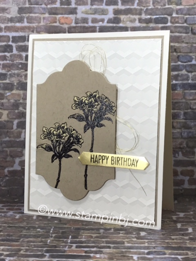 Avant Garden, Bleach Technique, #avantgarden, #bleachtechnique, #stampinup, #stampinbj.com, #bjpeters, #hexagondynamicembossing, #birthdaycard, #rubberstampingtechniques, #handstampedcard, #papercraftingtechniques