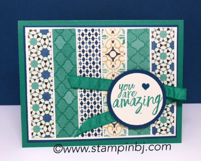 All Things Thanks, Morocccan designer series paper, #bloghop, #stampinup, #stampinbj.com, #bjpeters, #stampinupdemonstrator, #birthdaycard, #handstampedcard, #cardclassinthemail, #allthingsthanks, #Moroccandesignerseriespaper