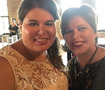 Chrissy at Sarah's wedding