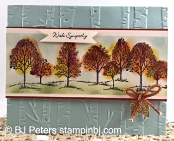 Lovely as a Tree, Woodlands embossing folder, Gold Glimmer paper, Tenny Tiny Wishes, Stampin' Up!, BJ Peters