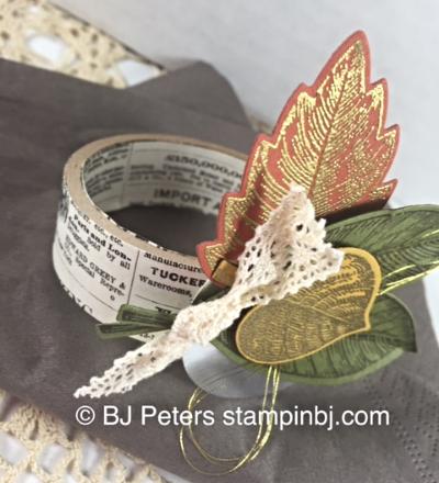 Vintage Leaves, napkin ring, leaflets framelits, Stampin' Up!, BJ Peters, blog hop