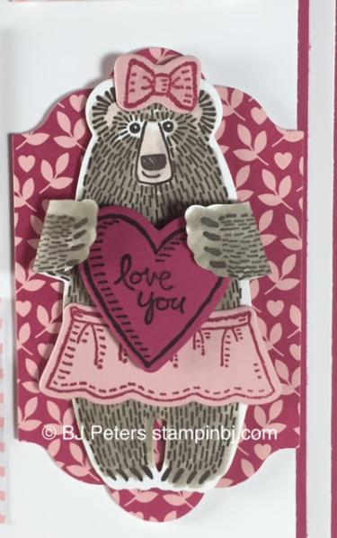Valentine frame, Bear Hugs, Stampin' Up!, BJ Peters