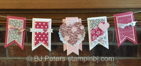 Bloomin' Love, Valentine Banner, Stampin' Up!, BJ Peters, Bloomin Heart Thinlits