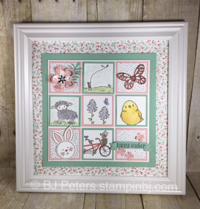 Easter frame, sTAMPIN' uP!, BJ Peters, Easter lamb, Botanical Blooms, Flowering Fields, Honeycomb Happiness, Friends & Flowers, Pedal Pusher