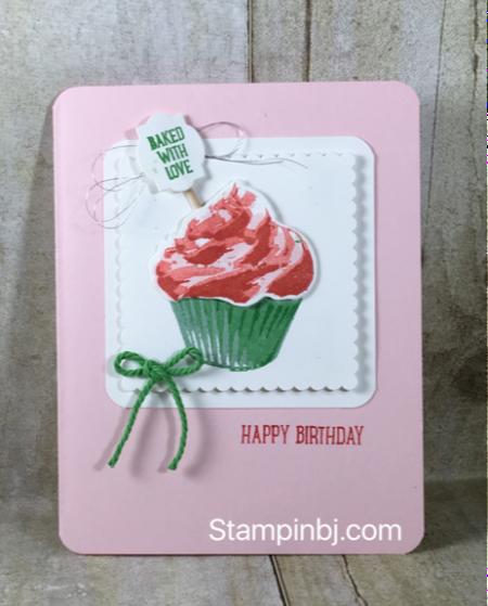 Sweet Cupcake, Stampin' Up!, Layering Squares, BJ Peters, Stampinbj, #sweetcupcake, #bjpeters, #stampinbj.com, #layeringsquares