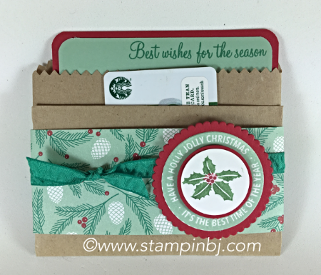 Holly Jolly Layers, Gift Card Holder, #hollyjollylayers, #giftcardholder, #christmasgiftcardholder, #stampinj.com