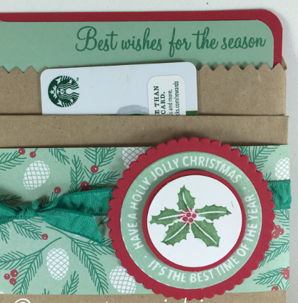 Holly JOlly Layers, Presents & Pinecones, Gift Card Holder, #stampinbj.com, #presents&pinecones, #giftcardholder, #christmasgiftcardholder, #hollyjollylayers