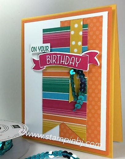 Festive Birthday designer series paper, Stampin' Up!, BJ Peters, Time of Year, #stampinup, #festivebirthday, #timeofyear, #bjpeters, #stampinbj.com, #birthdaycard