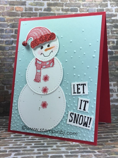 Stitched Shapes, Snow Friends, Jolly Friends, Jolly Hat Builder Punch, Stampin' up!, BJ Peters, #jollyfriends, #jollyfriendsbuilderpunch, #snowfriends, #stitchedshapes, #stampin'up!, #bjpeters, #staminbj.com, #christmas, #snowmancard
