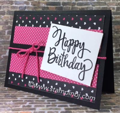 Stylized birthday, Stampin' up!, pop of pink designer series paper, #stylizedbirthday, #popofpinkdesignerseriespaper, #stampinup, #bjpeters, #stampinbj.com, #birthdaycard, #easybirthdaycard, #handmadecard, #rubberstamping
